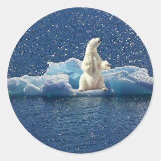 Adesivo Redondo Adicione o SLOGAN para salvar o gelo ártico do