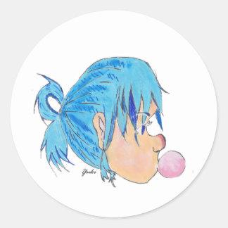 Adesivo Redondo Adolescente fundindo uma bolha com goma