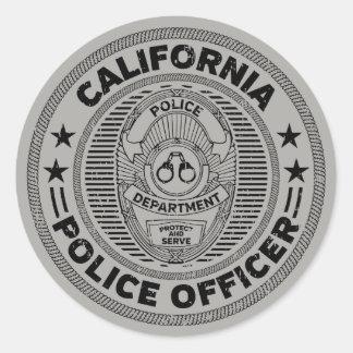 Adesivo Redondo Agente da polícia de Califórnia