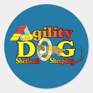 Adesivo Redondo Agilidade de Sheltie do Sheepdog de Shetland