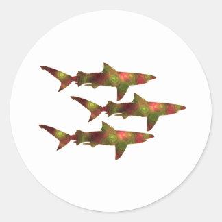 Adesivo Redondo Agitação do tubarão