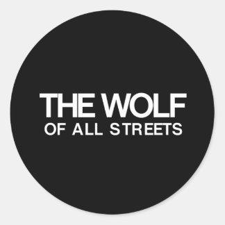 Adesivo Redondo Agradável o lobo de todo o impressão das ruas
