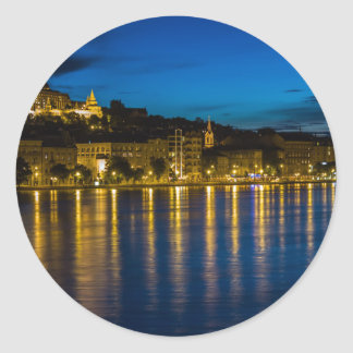 Adesivo Redondo Água da reflexão de Budapest Danube River no PH da