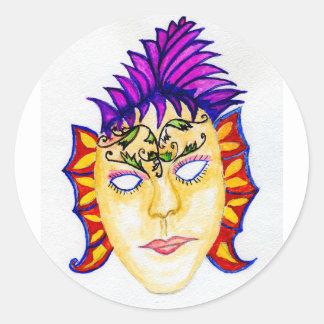 Adesivo Redondo Aguarela 2 da máscara do carnaval