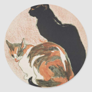 Adesivo Redondo Aguarela - 2 gatos - Théophile Alexandre Steinlen