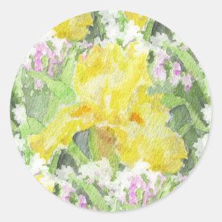Adesivo Redondo Aguarela alta amarela da íris farpada