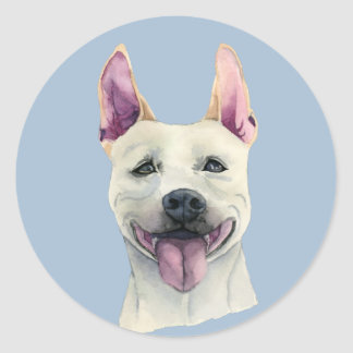 Adesivo Redondo Aguarela branca do cão de Staffordshire bull