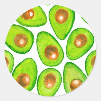 Adesivo Redondo Aguarela das fatias de abacate