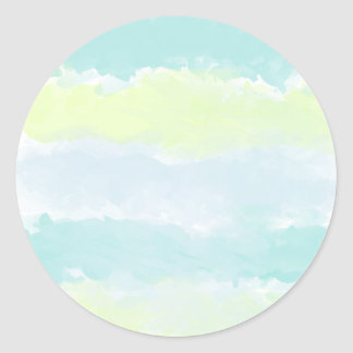 Adesivo Redondo Aguarela de Azur do verde azul