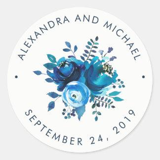 Adesivo Redondo Aguarela | floral do azul de índigo que Wedding