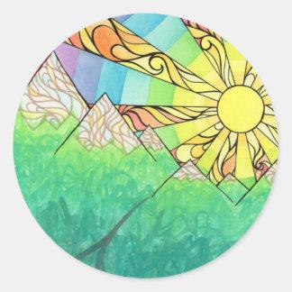 Adesivo Redondo Aguarela & marcador abstratos do ajuste de Sun do