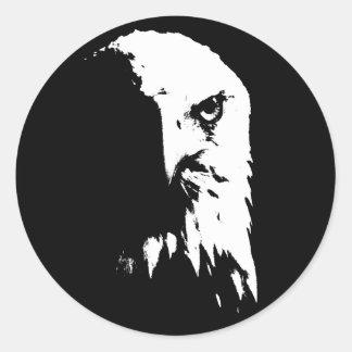 Adesivo Redondo Águia americana preta & branca