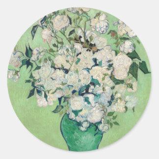 Adesivo Redondo Ainda vida: Vaso com rosas - Vincent van Gogh
