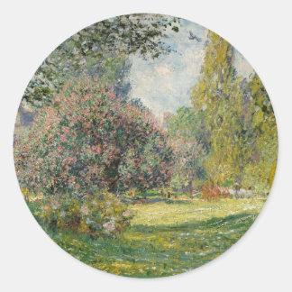 Adesivo Redondo Ajardine o Parc Monceau - Claude Monet