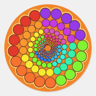 Adesivo Redondo Alaranjado - mandala do espectro do arco-íris