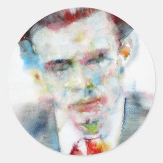 Adesivo Redondo ALDOUS HUXLEY - retrato .4 da aguarela