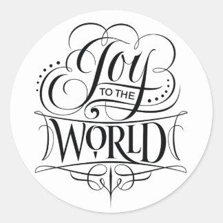 Adesivo Redondo Alegria à rotulação da caligrafia do Natal do