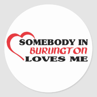 Adesivo Redondo Alguém em Burlington ama-me