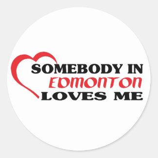 Adesivo Redondo Alguém em Edmonton ama-me