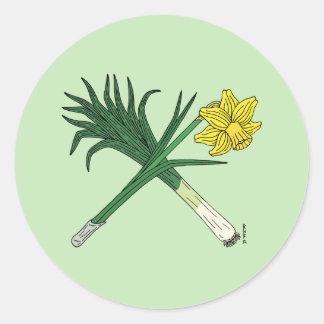 Adesivo Redondo Alho-porro e Daffodil cruzados