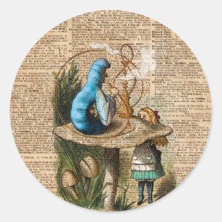Adesivo Redondo Alice, cogumelo e Jin, arte do dicionário do