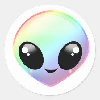 Adesivo Redondo Alienígena do arco-íris de Chibi