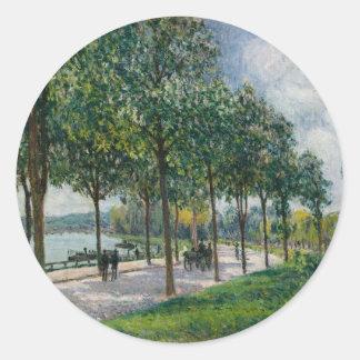 Adesivo Redondo Allée de árvores de castanha - Alfred Sisley