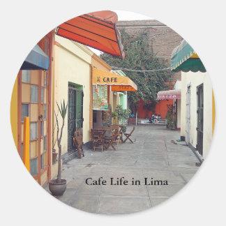 Adesivo Redondo Almoço barato da rua do café em Lima