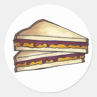 Adesivo Redondo Almoço do sanduíche PBJ da manteiga de amendoim e