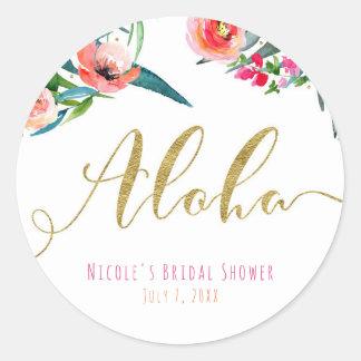 Adesivo Redondo Aloha favor floral do chá de panela do verão