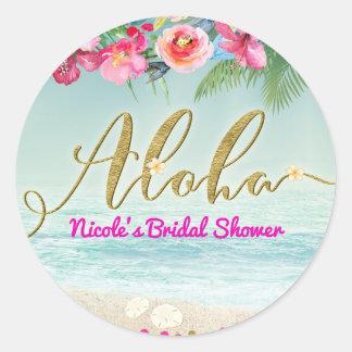 Adesivo Redondo ALOHA o hibiscus tropical da praia do ouro