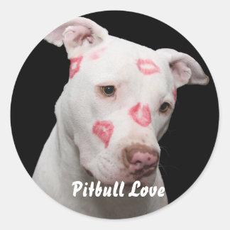Adesivo Redondo Amante editável de Pitbull
