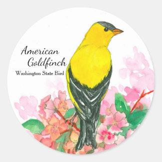 Adesivo Redondo Amarelo americano do pássaro de estado de