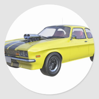 Adesivo Redondo Amarelo do carro de 1970 músculos com listra preta