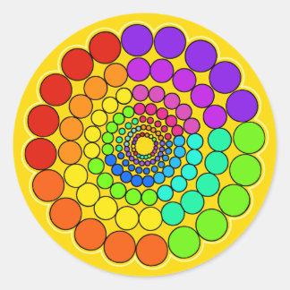 Adesivo Redondo Amarelo - mandala do espectro do arco-íris