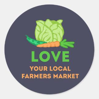 Adesivo Redondo Ame seu mercado local dos fazendeiros