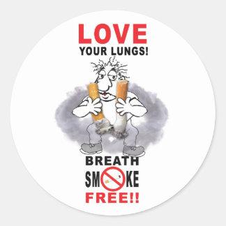 Adesivo Redondo Ame seus pulmões - pare de fumar