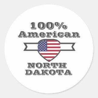 Adesivo Redondo Americano de 100%, North Dakota