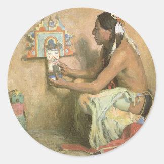 Adesivo Redondo Americanos nativos do vintage, Hopi Katchina por