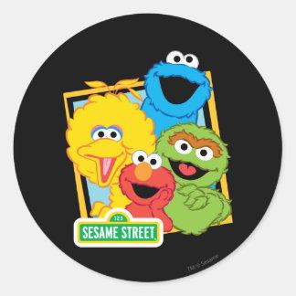 Adesivo Redondo Amigos do Sesame Street