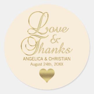 Adesivo Redondo Amor bege & obrigados do casamento de Champagne