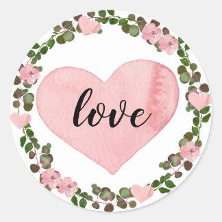Adesivo Redondo Amor cor-de-rosa do coração da aguarela e das