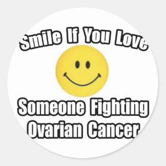 Adesivo Redondo Amor do sorriso… alguém câncer de ovário de