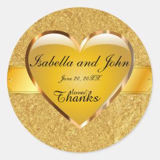 Adesivo Redondo Amor e obrigados do coração do ouro que Wedding a