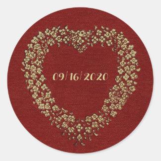 Adesivo Redondo Amor floral vermelho do na moda do vintage da