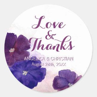 Adesivo Redondo Amor floral violeta & obrigados do casamento da
