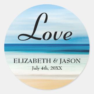 Adesivo Redondo Amor nos nomes da praia, da noiva & do noivo,
