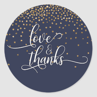 Adesivo Redondo Amor & obrigados, confete do ouro com azul da
