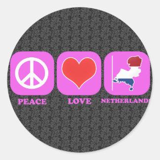 Adesivo Redondo Amor Países Baixos da paz