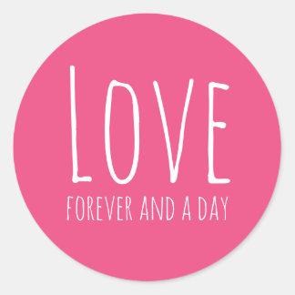 Adesivo Redondo Amor, para sempre e um selo do envelope do rosa